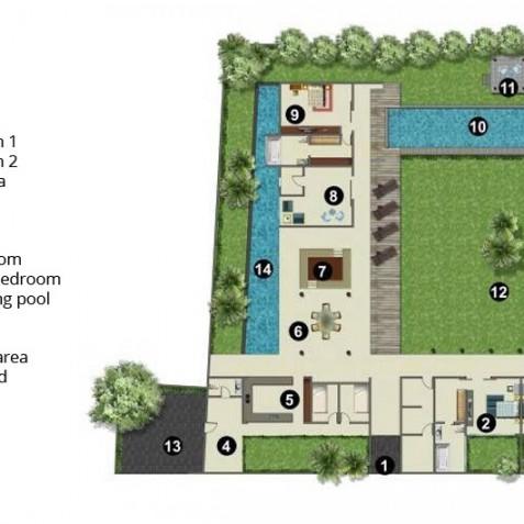 Villa Coco Groove - Floor Plan - Seminyak, Bali