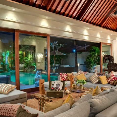 Villa Eshara I - Living Room at Night - Seminyak, Bali