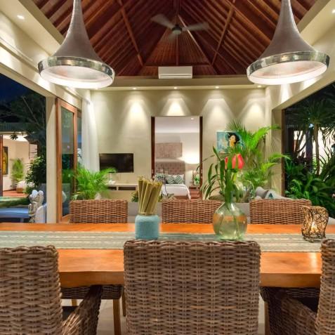Villa Eshara II - Dining Area in Evening - Seminyak, Bali