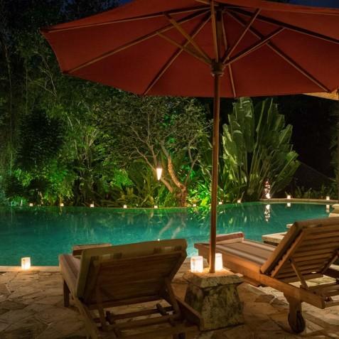 Villa Frangipani Bali - Pool at Night - Canggu, Bali