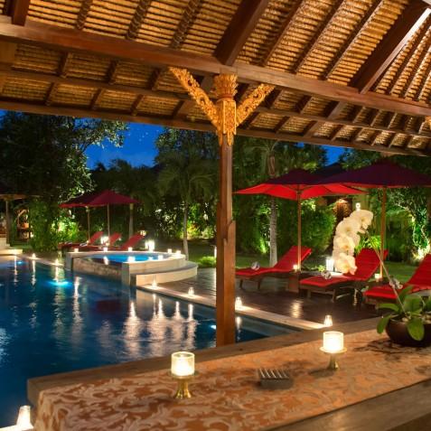 Villa Kalimaya I - Dining Pavilion at Night - Seminyak, Bali