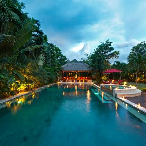 Villa Kalimaya I - Pool at Night - Seminyak, Bali