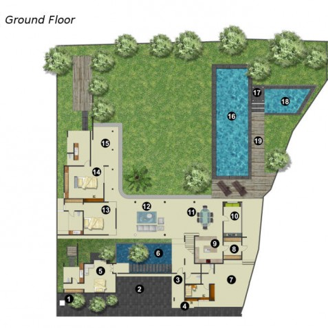 Villa Kavya Bali - Ground Floor Plan - Canggu, Bali