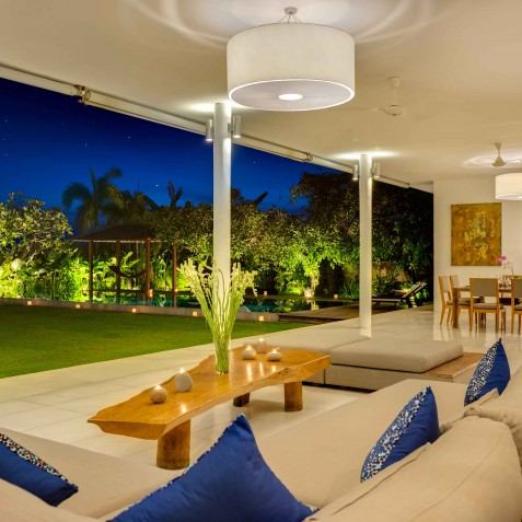 Villa Kavya Bali - Living Area at Night - Canggu, Bali