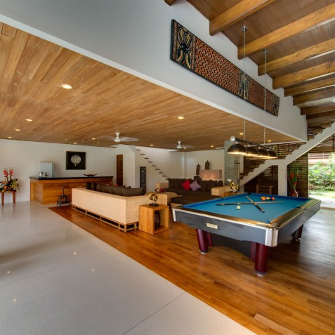 Villa Kinara - Living Room, Pool Table and Bar - Seminyak, Bali