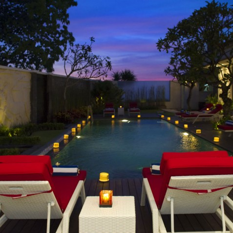 Villa LeGa Bali - Swimming Pool at Night - Seminyak, Bali