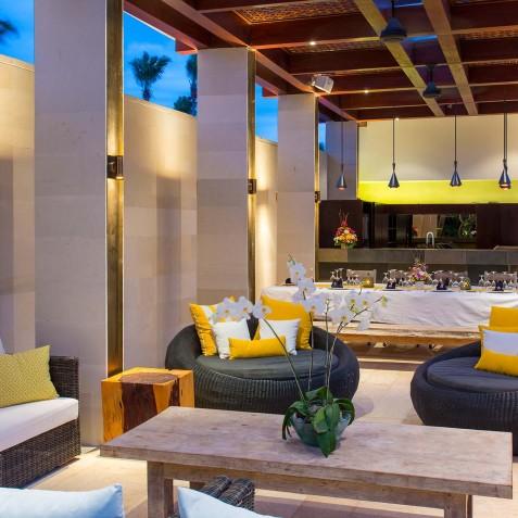 Villa Lilibel Bali - Outdoor Living Area at Night - Seminyak, Bali