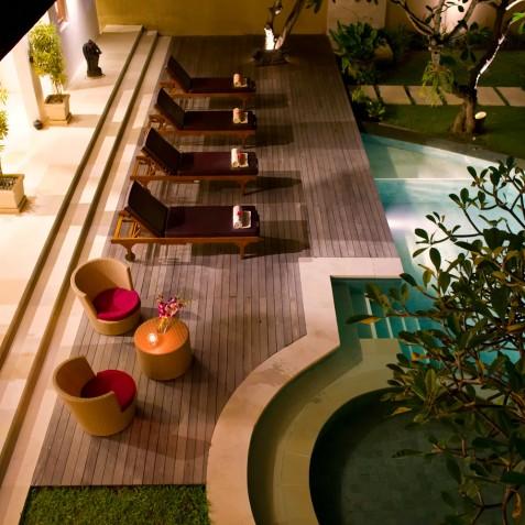 Villa Maharaj - Pool at Night - Seminyak, Bali