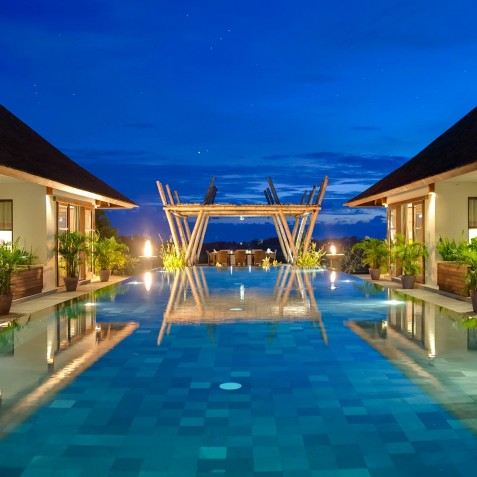 Villa Mandalay Bali - Pool and Bale at Night - Seseh-Tanah Lot