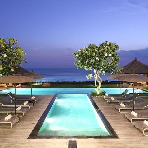 Villa Melissa Bali - Pool and Ocean at Night - Pantai Lima, Canggu, Bali