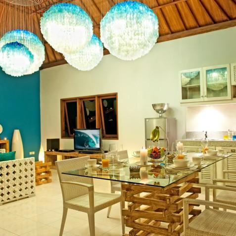 Villa Sea - 4S Villas - Dining and Living in Evening - Seminyak, Bali