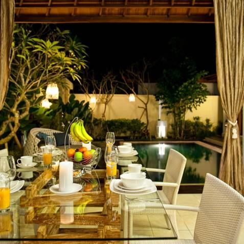 Villa Sea - 4S Villas - Dining at Night - Seminyak, Bali
