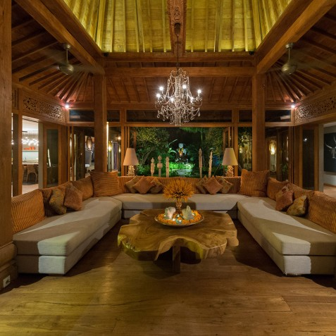 Villa Shambala - Living Area Evening - Seminyak, Bali