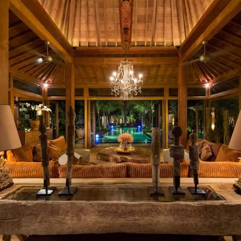 Villa Shambala - Living Area at Night - Seminyak, Bali