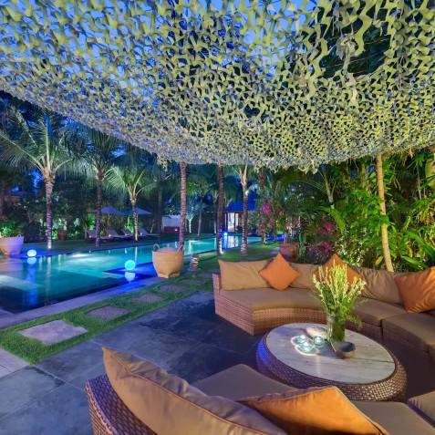 Villa Shambala - Outdoor Lounge Area at Night - Seminyak, Bali