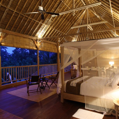 Villa Shamballa Residence, Ubud, Bali - Bedroom at Night