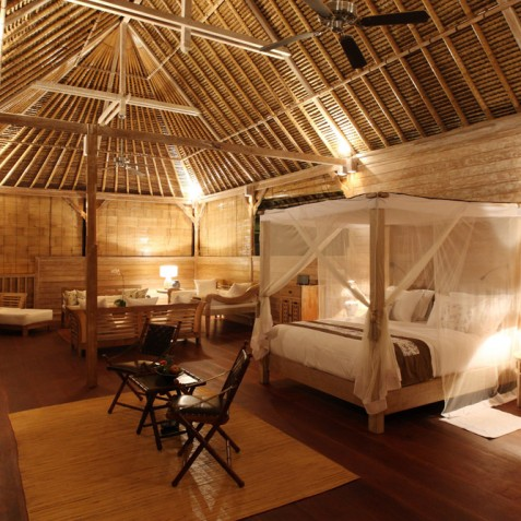 Villa Shamballa Residence, Ubud, Bali - Bedroom & Living Area at Night