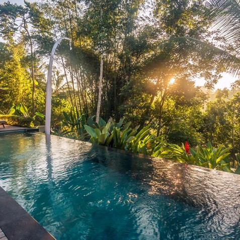 Villa Shamballa Residence, Ubud, Bali - Sunset over Pool