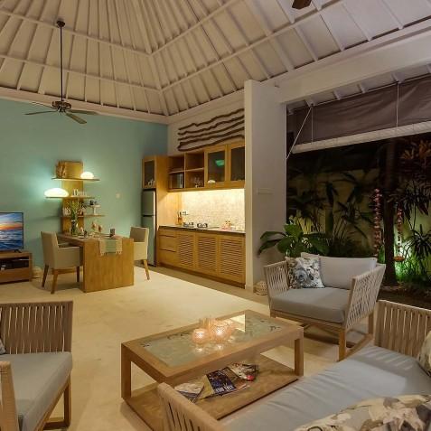 Villa Sky - 4S Villas - Lounge at Night - Seminyak, Bali