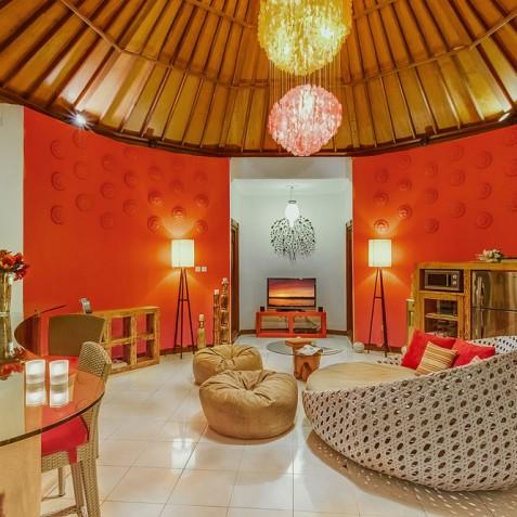 Villa Sun - 4S Villas - Lounge at Night - Seminyak, Bali