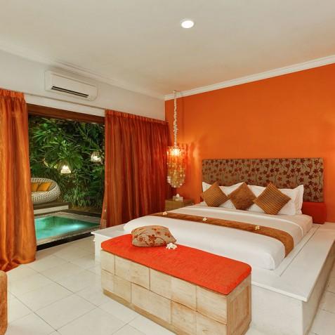 Villa Sun - 4S Villas - Poolside Bedroom Evening - Seminyak, Bali