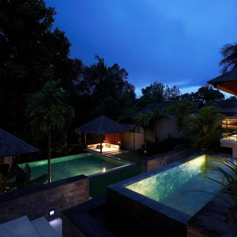 Villa Tukad Pangi - Swimming Pools at Night - Canggu, Bali