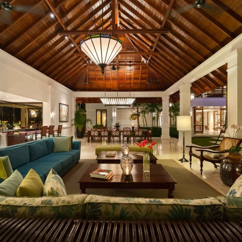 Villa Windu Asri - Open Living Area at Night - Seminyak, Bali