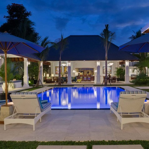 Villa Windu Asri - Pool and Dining Area at Night - Seminyak, Bali