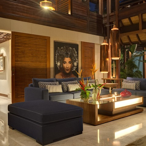 Villa Windu Sari - Living Area at Night - Seminyak, Bali