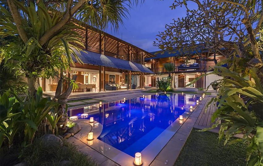 Villa Windu Sari - Pool and Villa at Night - Seminyak, Bali