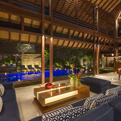 Villa Windu Sari - Living Pavilion at Night - Seminyak, Bali
