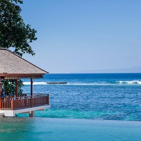 Tirta Nila Beach House, Candidasa, Bali - Dining Bale overlooking Ocean