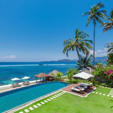 Tirta Nila Beach House, Candidasa, Bali - Gardens, Pool and Ocean