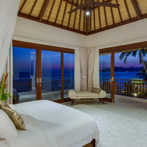 Tirta Nila Beach House, Candidasa, Bali - Master Bedroom in Evening