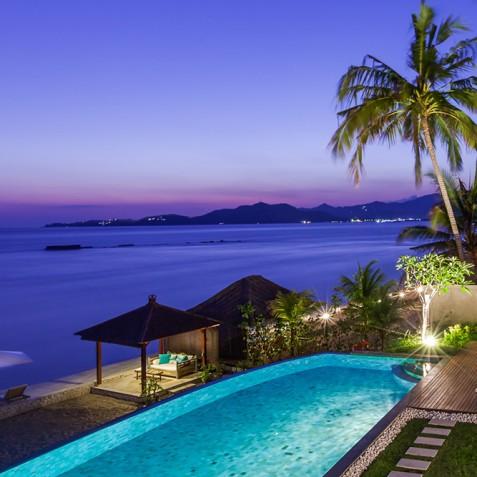 Tirta Nila Beach House, Candidasa, Bali - Sunset over Bay