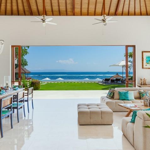 Tirta Nila Beach House, Candidasa, Bali - Ocean Views through Lounge