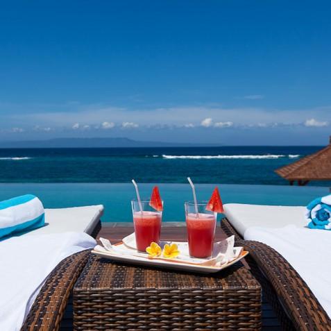 Tirta Nila Beach House, Candidasa, Bali - Pool Deck Ocean View