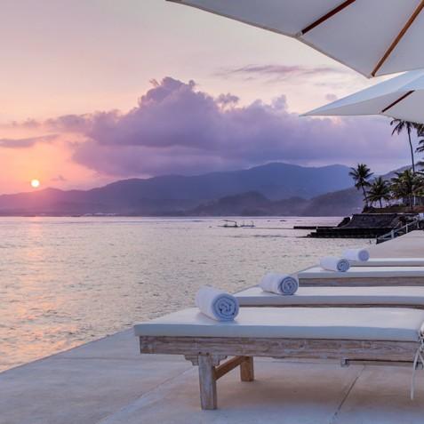 Tirta Nila Beach House, Candidasa, Bali - Sunset from Ocean Deck
