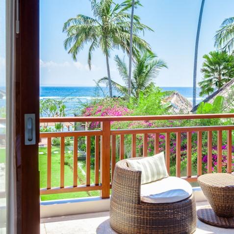 Tirta Nila Beach House, Candidasa, Bali - Upstairs Guest Bedroom Balcony