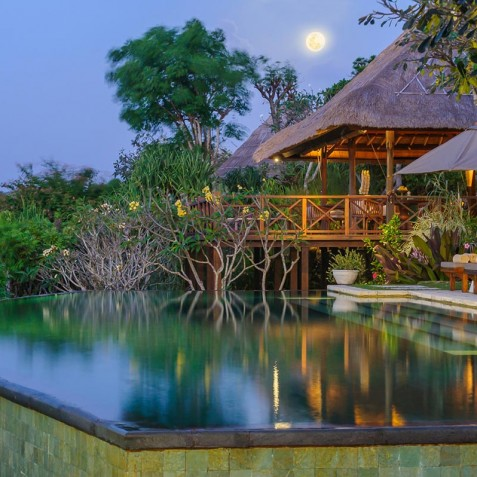 Villa Bayuh Sabbha - Poolside Bale at Night - Uluwatu, Bali