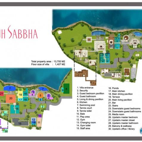 Villa Bayuh Sabbha - Floor Plan - Uluwatu, Bali
