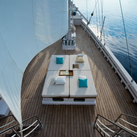 Sunbeds & Relaxing Spaces - Alexa Private Cruises - Luxury Charter Yacht - Indonesia