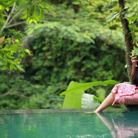 Relaxing by Pool - Svarga Loka Resort - Ubud, Bali, Indonesia
