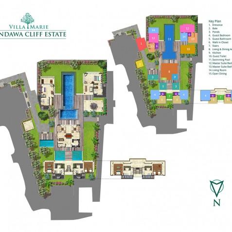 Pandawa Cliff Estate - Villa Marie Floorplan
